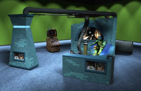 Preliminary concept digital models, Sewer Lair—Common Room