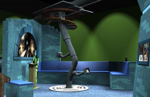 Preliminary concept digital models, Sewer Lair—Common Room.