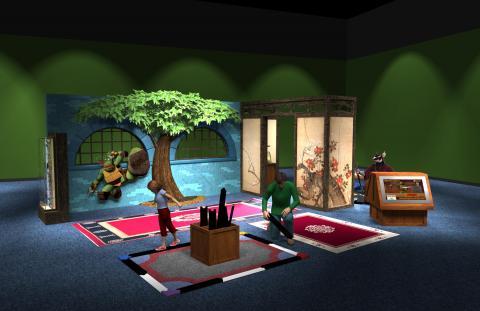 Preliminary concept digital model, Sewer Lair—the Dojo and Splinter's Room