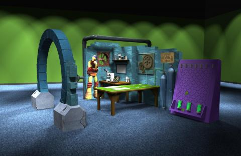 Preliminary concept digital model Sewer Lair—Donatello's Workshop and Lab.