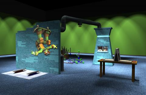Preliminary concept digital model, Sewer Lair—Common Room.]
